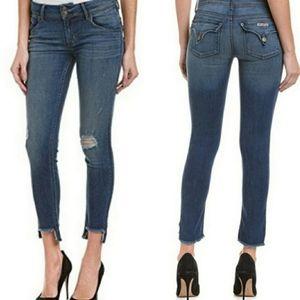 Hudson Cat skinny distressed step fray hem jeans
